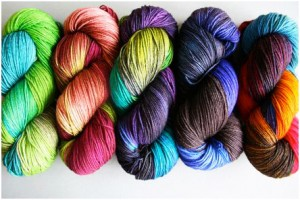 knots of colourful yarn